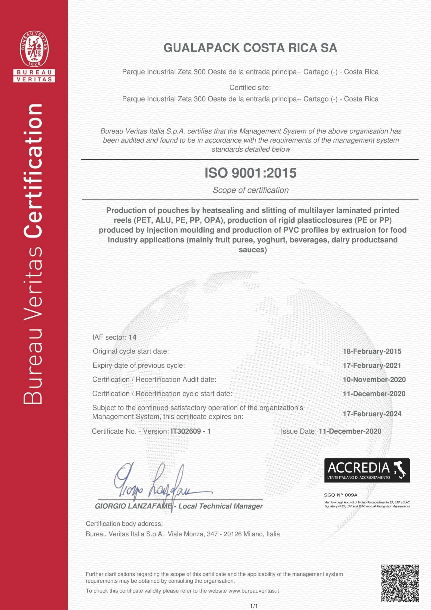 GUALAPACK COSTA RICA -ISO 9001 ENG