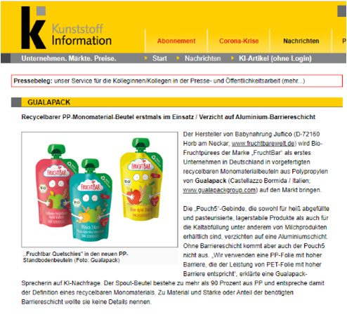 Gualapack Articolo Kunststoff Information