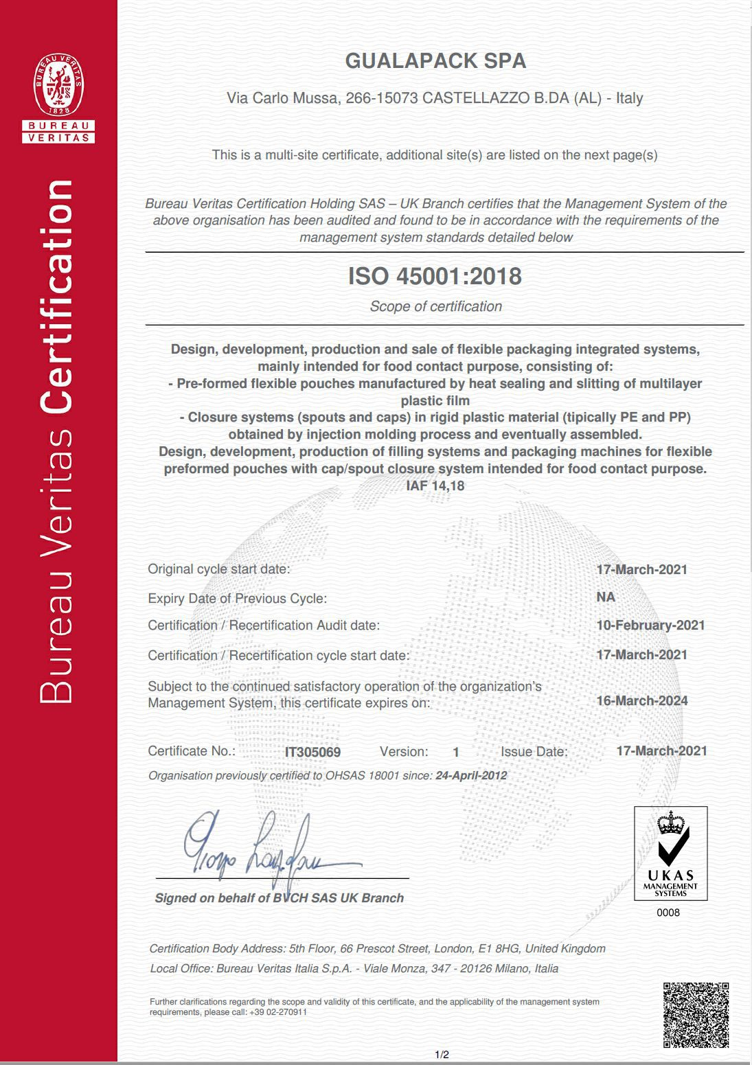 Gualapack ISO 45001