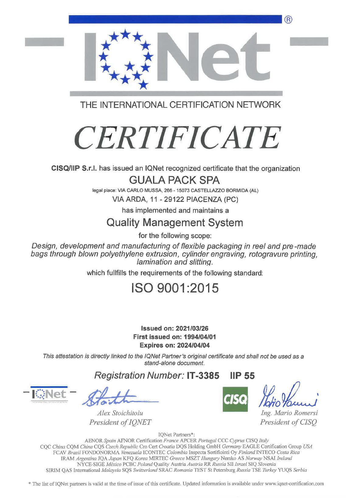 Gualapack Certificato ISO 9001 GP