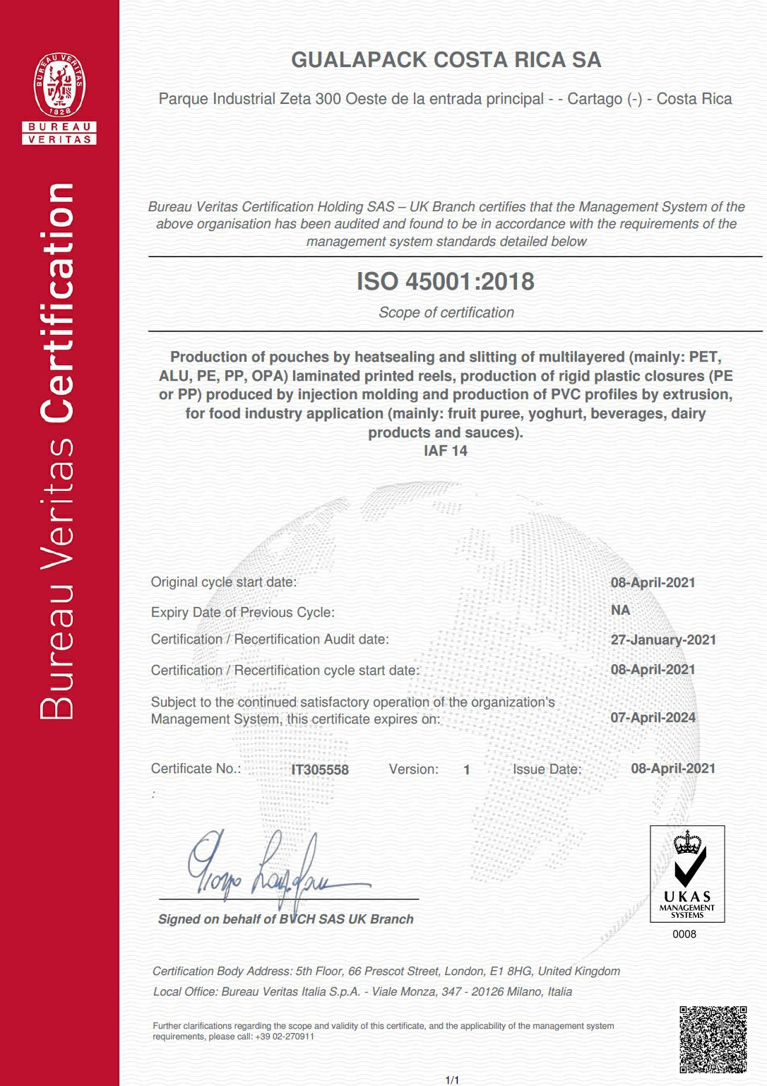 GUALAPACK COSTA RICA - ISO 45001 ENG