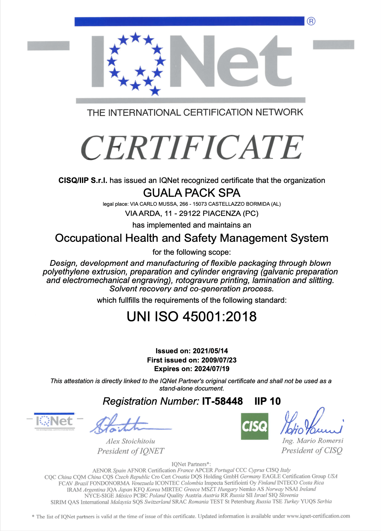 Certificate ISO 45001 GP Piacenza_May2021