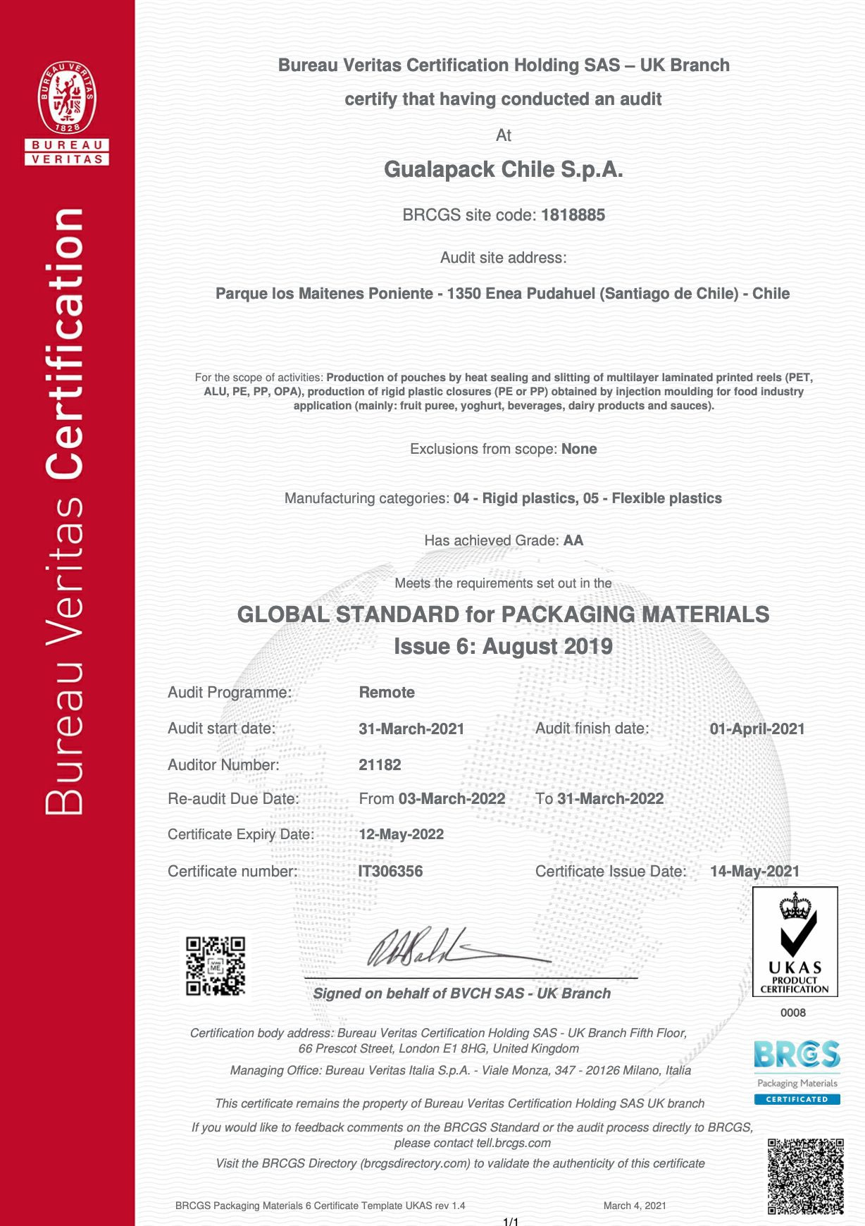 Gualapack Chile - BRCgS Certificate - exp.May22